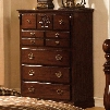 """Tuscan II Collection CM7571C 38"""" Chest with 5 Drawers Antique Gold Handles Solid Wood and Wood Veneers Construction in Glossy Dark Pine"""