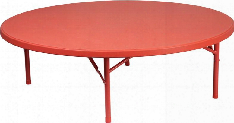 """Rb-60r-kid-rd-gg 60"""" Kids Folding Table With Stain Resistant Protective Floor Caps Waterproof Powder Coated Locking Legs And Plastic Material In Red"""
