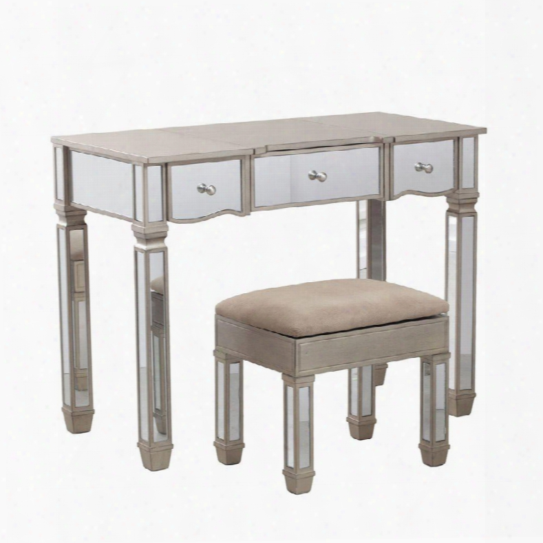 """Rodeo Collection 14v8121 39"""" Vanity With Stool Mirror Accents Flip Up Mirror And Two Drawers In"""