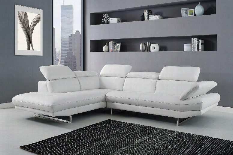Sl1351lwht Pandora Sectonal Chaise On Left When Facing White Top Grain Italian Leather Adjustable Headrests Stainless Steel