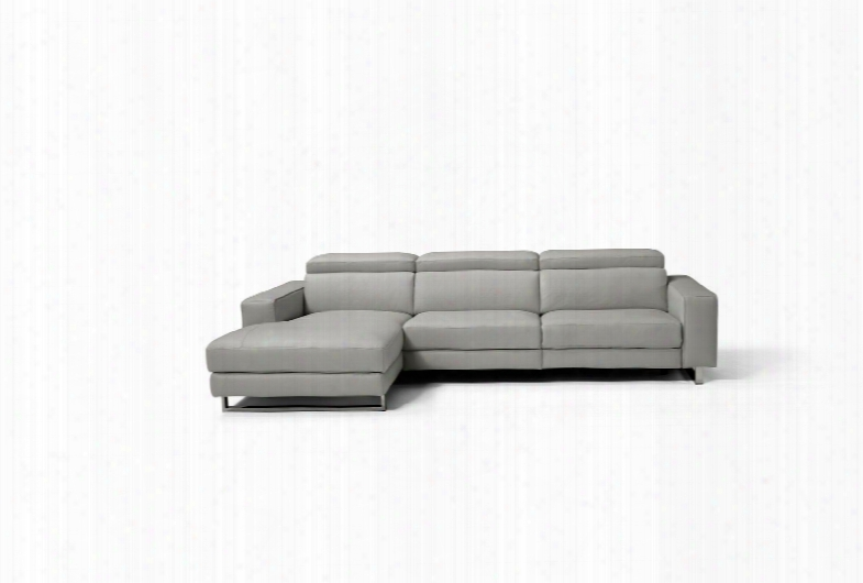 Sr1403lslgry Augusto Sectional 100% Made In Italy Chaise On Right When Facing Light Grey Top Grain Italian Leather 1062 L09s 1 Electric Recliner In The 2