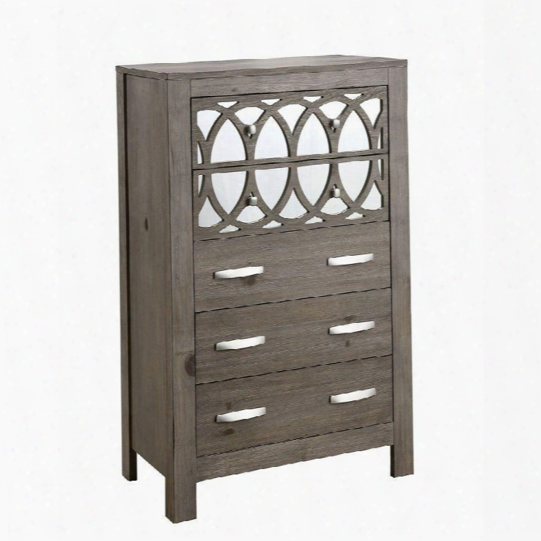 "Zaragoza Collection Cm7585c 32"" Chest With 5 Drawers Interlocking Circle Mirror Accents Full Extension Metal Glides And Wood Veneers Conssturction In Rustic"