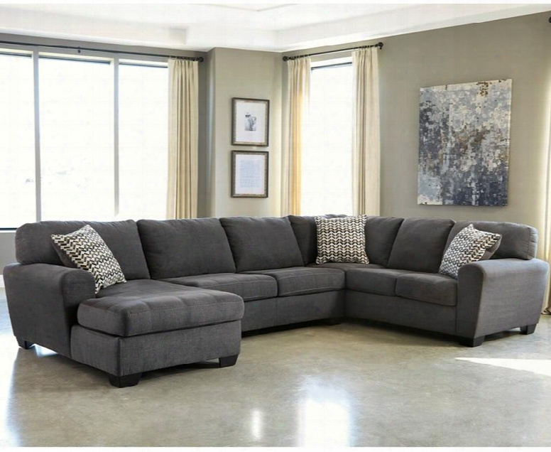 Benchcraft Sorenton Fbc-2869sec-3rafs-sla-gg 3 Pc Sectional With Right Arm Facing Sofa Flared Upholstered Arms Fixed Pillow Back Cushions And Fabric