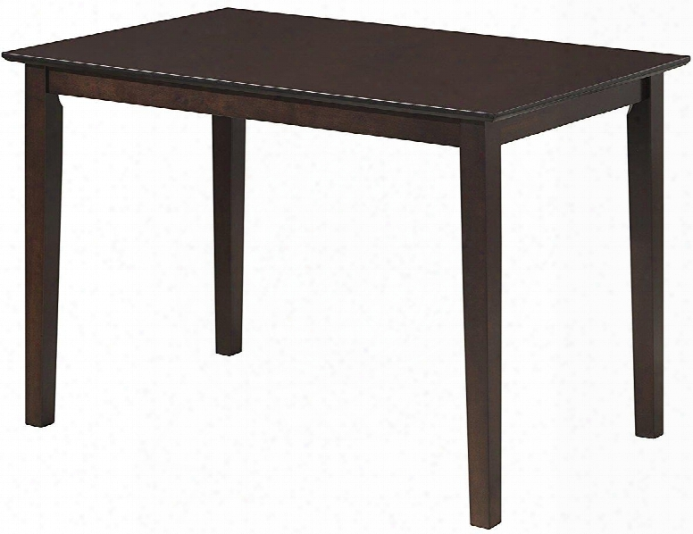 """G0025-t 43"""" Dining Table With Rectangular Shape Taperde Legs And Wood Veneers Construction In Cappuccino"""