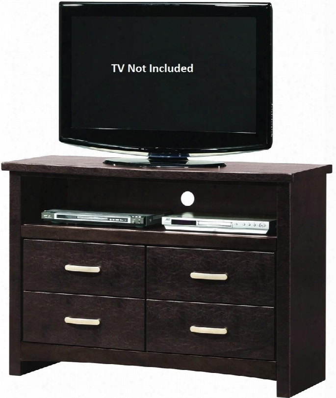 """G1800-tv 48"""" Media Chest With 4 Drawers Open Compartment Hole For Wires Silver Metal Hardware And Faux Leather Upholstery In Cappuccino"""