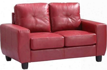 """G209a-l 58"""" Loveseat With Removable Back Track Arms Tapered Legs Tufted Cushions And Pu Leather Upholstery In Red"""