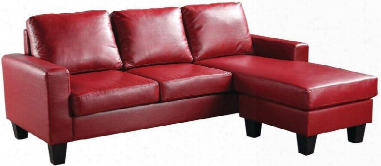 """G219-sch 76"""" Sofa Chaise With Reversible Chaise Track Arms Removable Backs Tapered Legs And Faux Leather Upholstery In Red"""