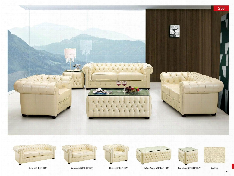 "I2027 27"" 258 End Table Leather Classic 3 Pcs Sets Esf Style"