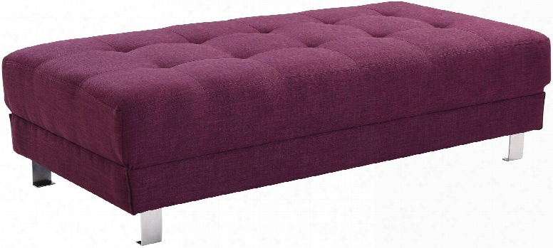 """Milan Collection G447-o 57"""" Ottoman With Tufted Design Chrome Metal Legs And Twill Fabric Upholstery In Berry"""