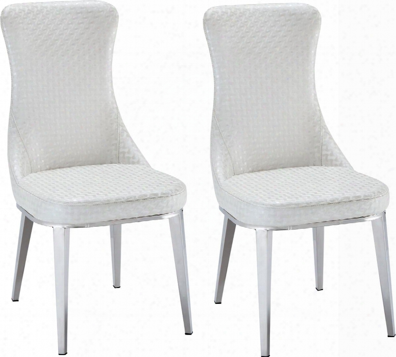 "Modern Collection I17849 24"" Side Chair With Tapered Legs And Eco-leather Upholstery In White"
