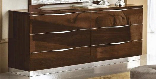 """Onda Collection I10472 68"""" Double Dresser With 6 Drawers Made In Italy And Wood Construction In Walnut"""