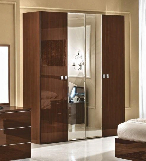 "Onda Collection I11487 73"" Wardrobe With 2 Wood Doors 2 Mirror Doors And Made In Italy In Walnut"