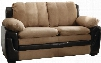 "G288-L 60"" Loveseat with Removable Backs Wood Frame Microfiber and Faux Leather Upholstery in Saddle"