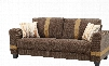 """G339-S 81"""" Sofa with Pocketed Coil Foam Encased Seat Cushions Throw Pillows and Fabric Upholstery in Brown and Beige"""