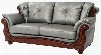 """G697-S 85"""" Sofa with Wood Trim Removable Back Button Tufted Back Cushion Turned Bun Feet Pocketed Coil Seating and Glove Soft Faux Leather Cover in Antique"""