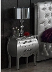 "Lorena Collection i2087 20"" Nightstand with 2 Drawers Metal Handles Apron and Wood Construction in Silver"