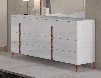 "Sirio Collection i17756 63"" Double Dresser with 1 Big Drawer 2 Smaller Drawers Decorative Handles and Tapered"