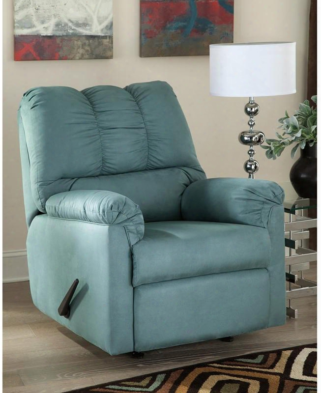 """Signature Design By Ashl Ey Darcy 42"""" Fsd-1109rec-sky-gg Rocker Recliner With Plush Upholstered Arms Recessed Lever Recliner And Microfiber Upholstery In Sky"""