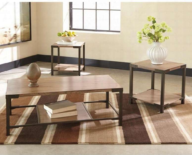 Signature Design By Ashley Dexifield Fsd-ts3-69b-gg 3 Pc Occasional Table Set With Ash Veneer Top Bottom Shelf Tubular Metal And Bronze-tone Metal Frame In