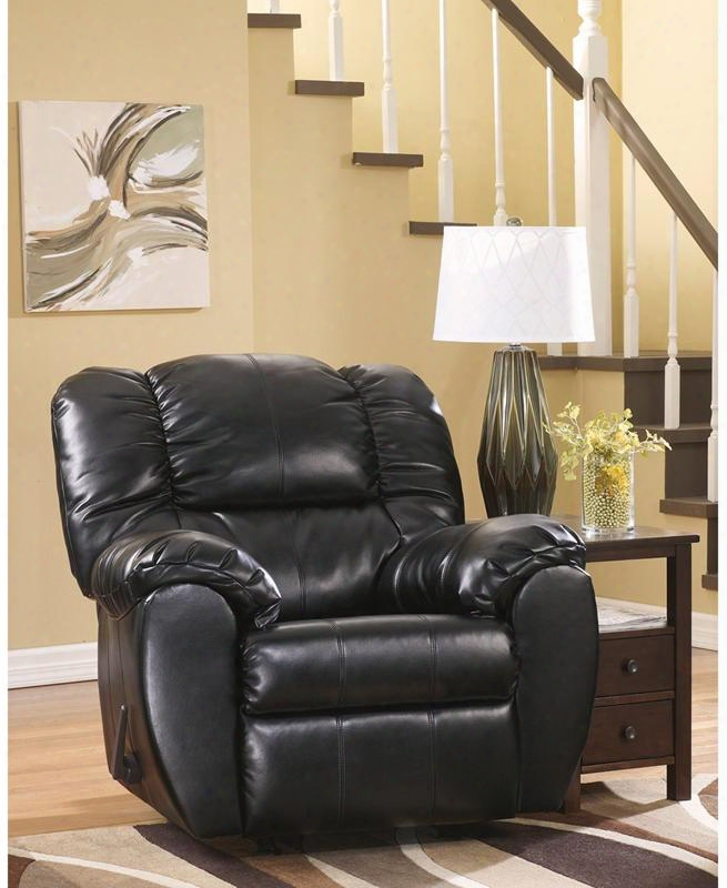 """Signature Design By Ashley Dylan Fsd-5699rec-onx-gg 41"""" Rocker Recliner With Bustle Back Cushions Metal Frame Rocker Feature Lever Recliner And Durablend"""