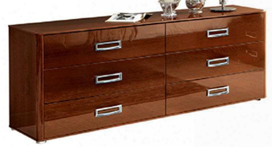 "Sky Collection I3843 71"" Double Dresser With 6 Drawers Metal Hardware Made In Italy And High Gloss Wood Grain"
