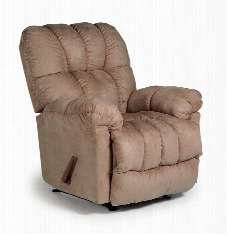 6n19-21169 Recliner With Plush Padded Arms Tufted Detailing And Hardwood Frame In Taupe