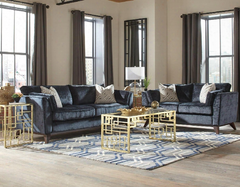 Amsterdam Collection 5055245st 5 Pc Living Room Set With Sofa + Loveseat + Coffee Table + 2 End Tables In Midnight And Brushded Brass