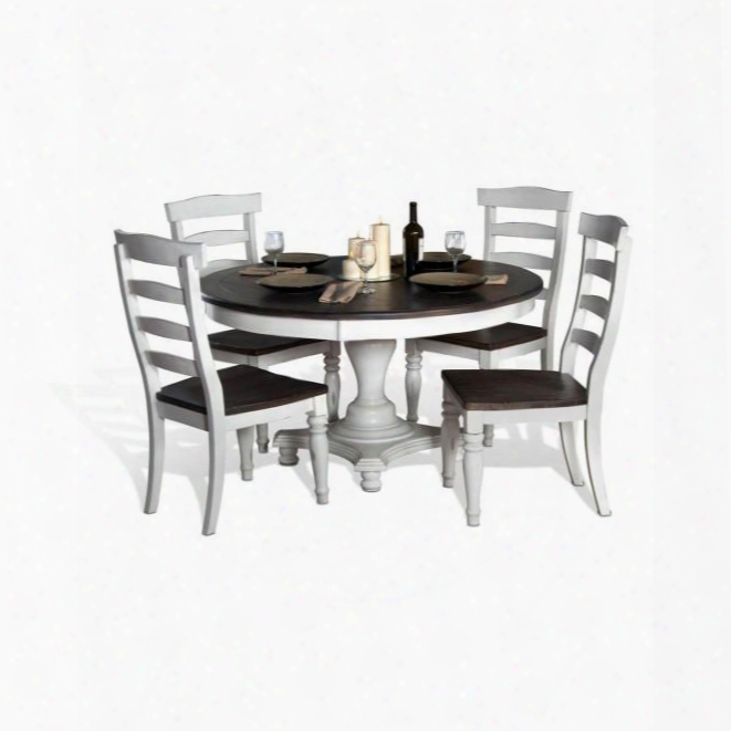 Bourbon Country Collection 1014fcdt4c 5-piece Dining Room Set With Round Dining Table And 4 Chairs In French Country