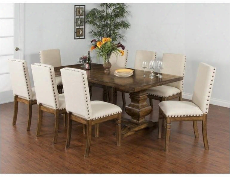 Cornerstone Collection 1396bmdt8c 9-piece Dining Apartment Set With Extension Dining Table And 8 Chairs In Burnish Mocha
