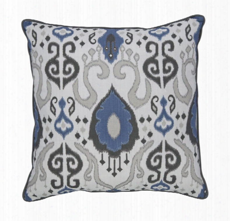 """Damaria A1000230p 20"""" X 20"""" Single Pillow With Ikat Pattern And Cotton Cover In Blue Ivory And"""