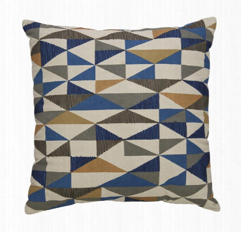 """Daray Collection A1000233p Single 20"""" X 20"""" Pillow With Geometric Pattern Fiber Filler And Cotton Cover In Multi"""