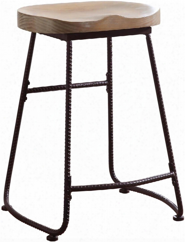 """Dining Chairs And Bar Stools Collection 101085 24"""" Counter Height Bar Stool With Saddle Wood Seat And Metal Frame In Driftwood And Dark Bronze"""