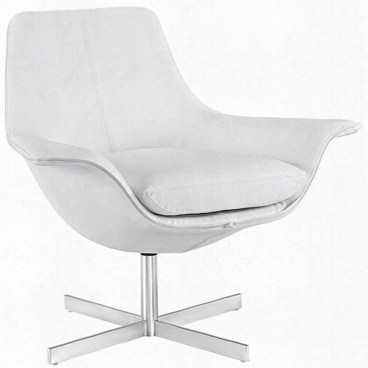 Eei-2073-whi Release Bonded Leather Lounge Chair In