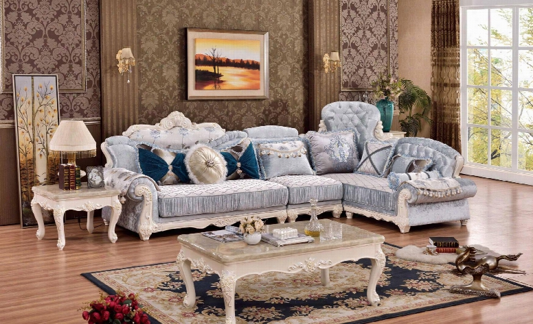 """Fabia Collection 694-sectional 140"""" 3-piece L-shaped Sectional Sofa With Left Arm Facing Sofa Armless Chair And Right Arm Facing Chaise In Rich Pearl"""