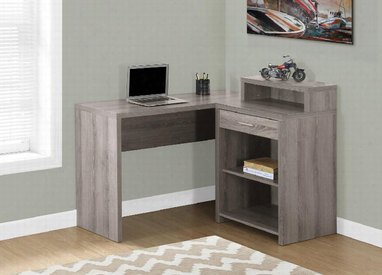 """I 7125 48"""" Computer Desk With Three Open Shelves One Drawer And Contemporary Style In Dark"""