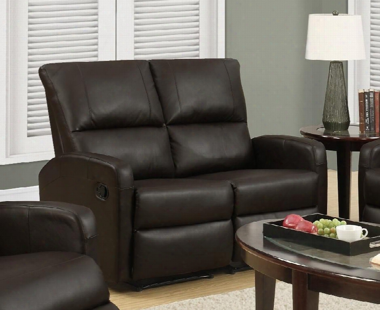 """I 84bk-2 50"""" Reclining Loveseat With Lumbar Support Comfortably Padded And Bonded Leather In"""