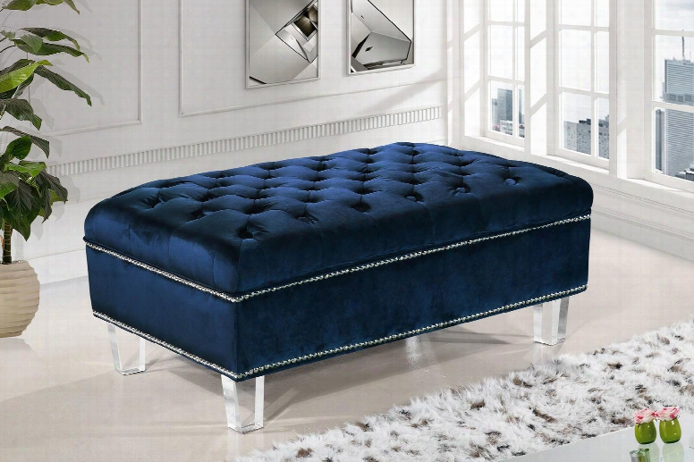 """Lucas Collection 609navy-ott 38"""" Ottoman With Velvet Upholstery Silver Nail Heads Tufted Cushions And Contemporary Style In"""