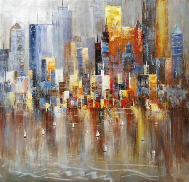 """Modrest Absract Harbor Vgshd-adc7641 39"""" Oil Painting With Sailing And Tall Buildings Design Canvas Material Hand Painted And Glossy Look In Multi"""