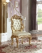 "Bennito Collection 703-SC 46"" Side Chair with Crystal Tufting Cabriole Legs and Hand Crafted Details in Rich Gold"