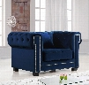 "Bowery Collection 614NAVY-C 47"" Chair with Velvet Upholstery Chrome Nail Heads Button Tufting and Contemporary Style in"