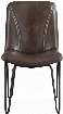"Chambler Collection 130084 35"" Dining Chair with Hairpin Legs Bucket Seat Black Metal Construction and Leatherette Upholstery in Brown"