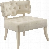 "Charlotte Collection 545CREAM 31"" Accent Chair with Velvet Upholstery Deep Tufted Cushion Upholstered Legs and Transitional Style in"