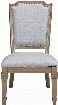 "Florence Collection 180202 42"" Side Chair with Vintage 18th Century French Neoclassic Design Nail Head Trim Grey Fabric Upholstery and Solid Pine"