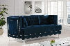 """Lucas Collection 609NAVY-L 64"""" Loveseat with Velvet Upholstery Silver Nail Heads Tufted Cushions and Contemporary Style in"""