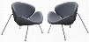"Roxy Collection ROXYCHVGR2PK Set of 2 33"" Accent Chairs with Flared Scoop Seat Chrome Metal Frame and Leatherette Upholstery in Grey"