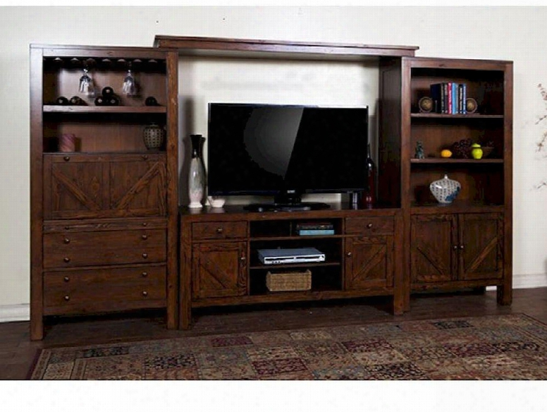 """Ranch House Collection 3485ab 134"""" Entertainment Wall With Wine Glass Holder 4 Doors And 4 Drawers In Antique Bronze"""
