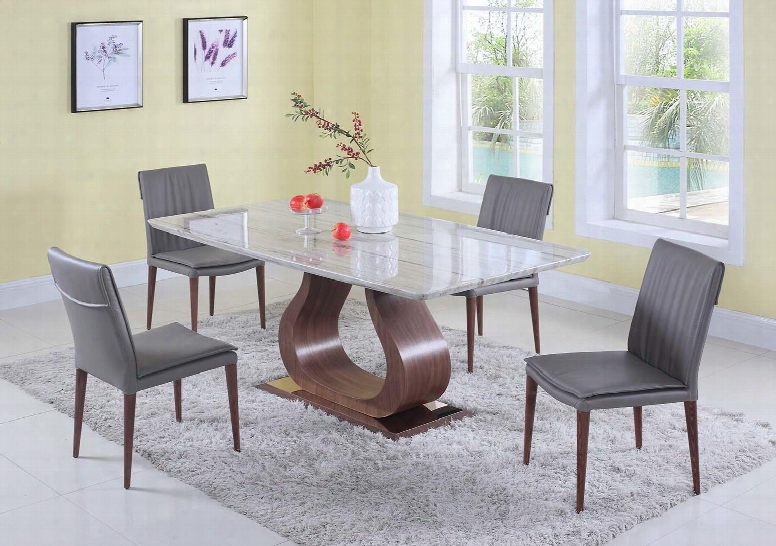 Sage Collection Sage-serena-5pc 5-piece Dining Room Sets Wit Rectangular Dining Table And 4x Brown Dining Chairss In Grewn Beige And