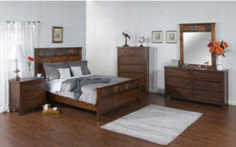 Santa Fe Collection 2334dcbkdm2nc 6-piece Bedroom Set With Kingbed Dresser Mirror 2 Nightstands And Chst In Dark Chocolate