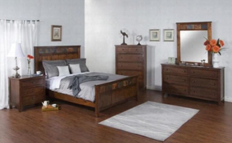 Santa Fe Collection 2334dckbdmn 4-piece Bedroom Set With King Bed Dresser Mirror And Nightstand In Dark Chocolate