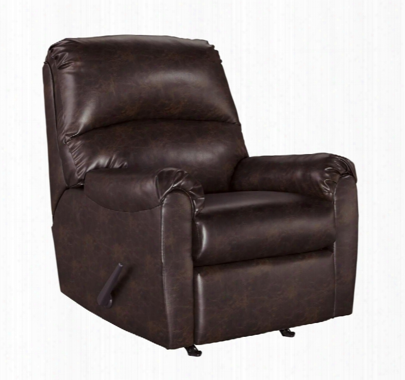 "Talco Collection 65503-25 35"" Rocker Recliner With Pillow Top Arms Stitching Detail And Fayx Leather Upholstery In"